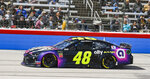 Jimmie Johnson races down the front stretch during a NASCAR Cup auto race at Texas Motor Speedway, Sunday, March 31, 2019, in Fort Worth, Texas. (AP Photo/Randy Holt)