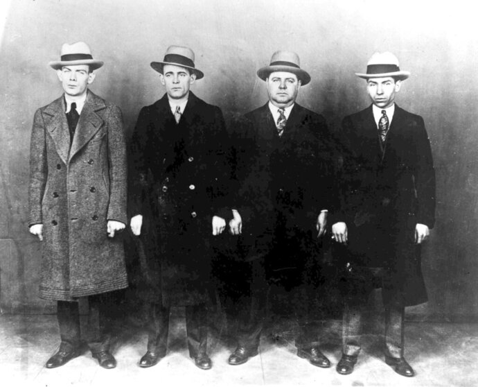 FILE - In this Oct. 20, 1930, file photo from left, gangsters Ed Diamond, Jack Diamond, Fatty Walsh and Charles
