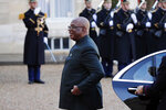 Mali's President Ibrahim Boubacar Keita arrives to meet French President Emmanuel Macron at the Elysee Palace, in Paris Tuesday, Nov. 12, 2019. (AP Photo/Francois Mori)