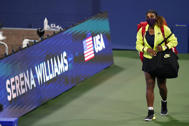CORRECTS TO SAKKARI IS FROM GREECE, INSTEAD OF GERMANY - Serena Williams arrives for her match with Maria Sakkari, of Greece, during the third round at the Western & Southern Open tennis tournament Tuesday, Aug. 25, 2020, in New York. (AP Photo/Frank Franklin II)