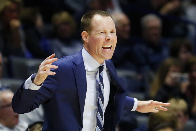 Xavier coach Travis Steele reacts during the second half of the team's NCAA college basketball game against Jacksonville, Tuesday, Nov. 5, 2019, in Cincinnati. (AP Photo/John Minchillo)