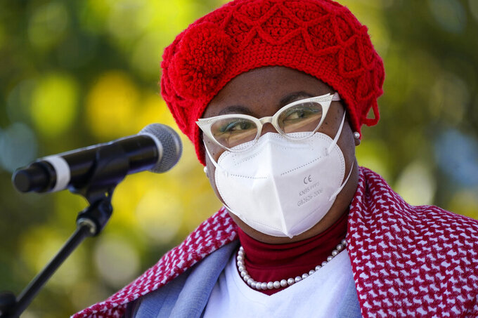 Marquita Bradshaw, the Tennessee Democratic nominee for U.S. Senate, speaks before a Power Together Women's March Saturday, Oct. 17, 2020, in Nashville, Tenn. Dozens of Women's March rallies were planned from New York to San Francisco to signal opposition to President Donald Trump and his policies, including the push to fill the seat of late Supreme Court Justice Ruth Bader Ginsburg before Election Day. (AP Photo/Mark Humphrey)