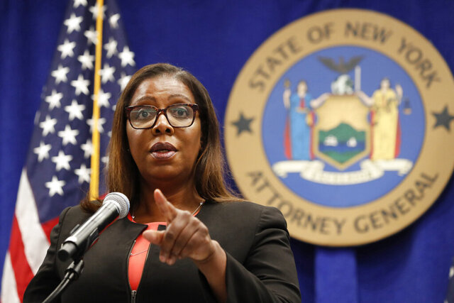 FILE- In this Aug. 6, 2020 file photo, New York State Attorney General Letitia James takes a question at a news conference in New York. During a Tuesday, Sept. 29 media conference call on an initiative, dubbed