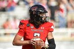 Texas Tech quarterback Henry Colombi (3) looks to pass against Baylor during an NCAA college football game in Lubbock, Texas, Saturday, Nov. 14, 2020. (AP Photo/Justin Rex)
