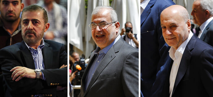 This combination of three photo shows, from left, Wafiq Safa, a top Hezbollah security official, and Lebanon Parliament members Muhammad Hasan Ra'd and Amin Sherri in Beirut. The U.S. Treasury Department is imposing sanctions the three men, who are suspected of using their positions to further the aims of the Iran-backed military group and