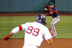 Boston Red Sox's Alex Verdugo (99) heads to first after hitting a grounder to Atlanta Braves second baseman Johan Camargo during the fifth inning of a baseball game Tuesday, Sept. 1, 2020, in Boston. Verdugo was out. (AP Photo/Mary Schwalm)