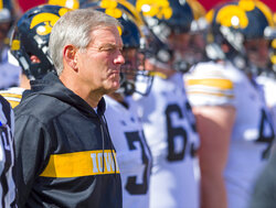 Iowa head coach Kirk Ferentz watches the action on the field during the first half of an NCAA college football game against Indiana Saturday, Oct. 13, 2018, in Bloomington, Ind. (AP Photo/Doug McSchooler)
