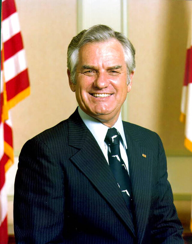 In this 1987 photo made available by The State Archives of Florida, Wayne Mixson poses in Tallahassee, Fla. Mixson, a former Florida Governor whose three-day term was shortest in state history, died Wednesday, July 8, 2020. He was 98. Mixson took over the top spot on Jan. 3, 1987, when Gov. Bob Graham resigned early to be sworn into the U.S. Senate. Mixson was a two-term lieutenant governor. (The State Archives of Florida via AP)