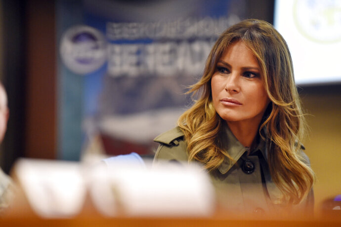 First lady Melania Trump listens during a briefing on disaster preparation and response, Wednesday, Oct. 30, 2019, at Joint Base Charleston, S.C. (AP Photo/Meg Kinnard)