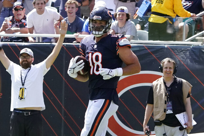 Chicago Bears tight end Jesse James (18) catches a touchdown pass against the Miami Dolphins during the second half of an NFL preseason football game in Chicago, Saturday, Aug. 14, 2021. (AP Photo/David Banks)