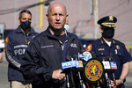 Nassau County Police Commissioner Patrick Ryder speaks to reporters near the scene of a shooting at a Stop & Shop supermarket, Tuesday, April 20, 2021, in West Hempstead, N.Y. A gunman shot three workers inside a manager's office at a Long Island grocery store Tuesday, killing one of them, police said. (AP Photo/Mary Altaffer)