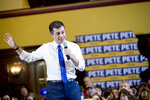 Democratic presidential candidate former South Bend, Ind., Mayor Pete Buttigieg speaks at a campaign stop at Iowa State University, Monday, Jan. 13, 2020, in Aimes, Iowa. (AP Photo/Andrew Harnik)