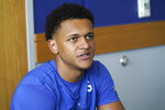 Duke forward Paolo Banchero speaks to reporters during the team's NCAA college basketball media day in Durham, N.C., Tuesday, Sept. 28, 2021. (AP Photo/Gerry Broome)