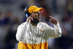 Tennessee coach Jeremy Pruitt calls out to his players during the first half of an NCAA college football game against Auburn on Saturday, Nov. 21, 2020, in Auburn, Ala. (AP Photo/Butch Dill)