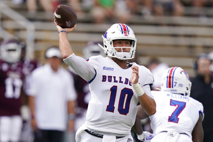 FILE - Louisiana Tech quarterback Austin Kendall (10) passes against Mississippi State during the first half of an NCAA college football game in Starkville, Miss., in this Saturday, Sept. 4, 2021, filer photo. Kendall has thrown for 1,342 yards and 10 touchdowns in five games, but also has been intercepts eight times. UTSA, ranked for the first time as well as  7-0 for the first time, play against Louisiana Tech on Saturday, Oct. 23.(AP Photo/Rogelio V. Solis, File)