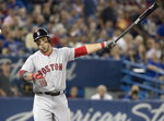Boston Red Sox Steve Pearce reacts after popping up in the first inning against the Toronto Blue Jays during a baseball game Thursday, Aug. 9, 2018, in Toronto. (Fred Thornhill/The Canadian Press via AP)