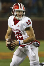 Indiana quarterback Peyton Ramsey during an NCAA college football game against Minnesota, Friday, Oct. 26, 2018, in Minneapolis. Minnesota won 38-31. (AP Photo/Stacy Bengs)