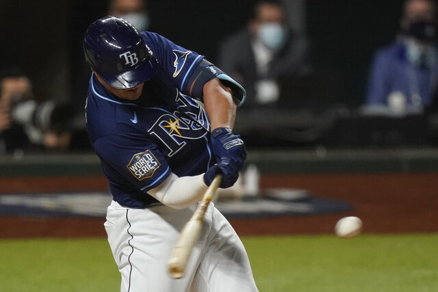Tampa Bay Rays' Hunter Renfroe hits a home run against the Los Angeles Dodgers during the fifth inning in Game 4 of the baseball World Series Saturday, Oct. 24, 2020, in Arlington, Texas. (AP Photo/Eric Gay)