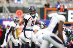 Denver Broncos quarterback Teddy Bridgewater (5) calls to teammates during the second half of an NFL football game against the New York Giants, Sunday, Sept. 12, 2021, in East Rutherford, N.J. (AP Photo/Adam Hunger)