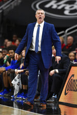 Indiana State coach Greg Lansing shouts instructions to his team during the second half of an NCAA college basketball game against Louisville in Louisville, Ky., Wednesday, Nov. 13, 2019. Louisville won 91-62. (AP Photo/Timothy D. Easley)