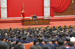 """In this photo provided by the North Korean government, North Korean leader Kim Jong Un attends the ruling party congress in Pyongyang, North Korean, Sunday, Jan. 10, 2021. Kim was given a new title, """"general secretary"""" of the ruling Workers' Party, formerly held by his late father and grandfather, state media reported Monday, Jan. 11, in what appears to a symbolic move aimed at bolstering his authority amid growing economic challenges. Independent journalists were not given access to cover the event depicted in this image distributed by the North Korean government. The content of this image is as provided and cannot be independently verified. Korean language watermark on image as provided by source reads:"""