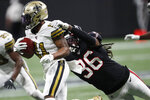New Orleans Saints wide receiver Deonte Harris (11) runs against Atlanta Falcons defensive back Kemal Ishmael (36) during the second half of an NFL football game, Thursday, Nov. 28, 2019, in Atlanta. (AP Photo/John Bazemore)