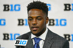 Purdue wide receiver David Bell talks to reporters during an NCAA college football news conference at the Big Ten Conference media days, at Lucas Oil Stadium in Indianapolis, Friday, July 23, 2021. (AP Photo/Michael Conroy)