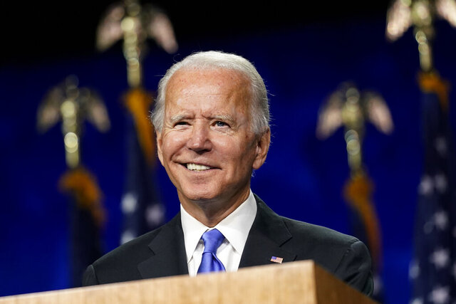 Democratic presidential candidate former Vice President Joe Biden speaks during the fourth day of the Democratic National Convention, Thursday, Aug. 20, 2020, at the Chase Center in Wilmington, Del. (AP Photo/Andrew Harnik)