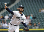 Seattle Mariners starting pitcher Christian Bergman throws against the Texas Rangers during the first inning of a baseball game, Wednesday, May 16, 2018, in Seattle. (AP Photo/Ted S. Warren)