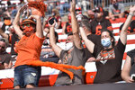 Cleveland Browns fans celebrate during the second half of an NFL football game against the Washington Football Team, Sunday, Sept. 27, 2020, in Cleveland. (AP Photo/David Richard)