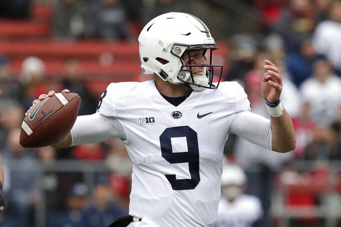 Penn State quarterback Trace McSorley throws a pass against Rutgers during the first half of an NCAA college football game, Saturday, Nov. 17, 2018, in Piscataway, N.J. (AP Photo/Julio Cortez)