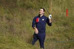 Team USA's Patrick Cantlay watches his shot on the niinth hole during a four-ball match the Ryder Cup at the Whistling Straits Golf Course Friday, Sept. 24, 2021, in Sheboygan, Wis. (AP Photo/Charlie Neibergall)