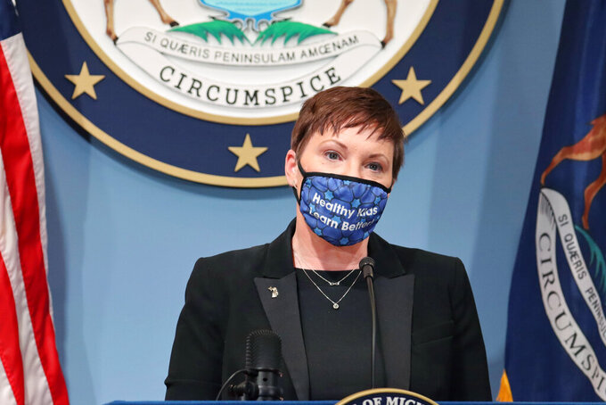 FILE— In this Thursday, Feb. 4, 2021 file photo, provided by the Michigan Office of the Governor, Elizabeth Hertel, director of the state health department addresses the state. Republican senators critical of Gov. Gretchen Whitmer's handling of the coronavirus pandemic are weighing whether to reject her appointee Hertel to run the state health department, which has issued orders restricting business capacity and gathering sizes to limit COVID-19's spread. (Michigan Office of the Governor via AP)