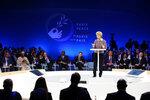 European Commission president Ursula von der Leyen delivers her speech at the start of the Paris Peace Forum Tuesday, Nov. 12, 2019 in Paris. (Ludovic Marin/Pool via AP)