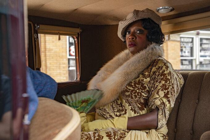 "This image released by Netflix shows Viola Davis in ""Ma Rainey's Black Bottom.""  (David Lee/Netflix via AP)"