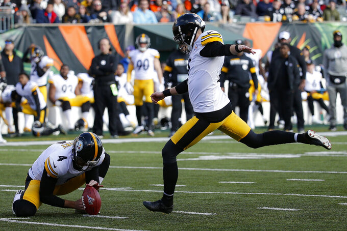 Pittsburgh Steelers kicker Chris Boswell (9) kicks a field goal during the first half an NFL football game against the Cincinnati Bengals, Sunday, Nov. 24, 2019, in Cincinnati. (AP Photo/Frank Victores)