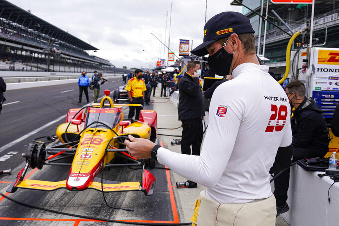 Ryan Hunter-Reay prepare to drives in the final practice for the Indianapolis 500 auto race at Indianapolis Motor Speedway in Indianapolis, Friday, May 28, 2021. (AP Photo/Michael Conroy)