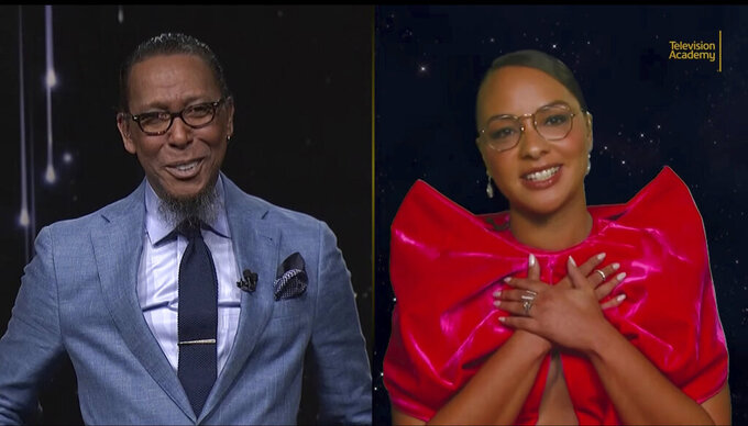 This video grab provided by the Academy of Television Arts & Sciences shows Ron Cephas Jones, left, and his daughter Jasmine Cephas Jones as they speak during the 73rd Emmy Awards Nominations Announcement on Tuesday, July 13, 2021. (Television Academy via AP)