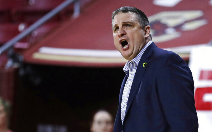 Boston College head coach Jim Christian argues a call during the first half of an NCAA college basketball game against Pittsburgh in Boston, Tuesday, Feb. 12, 2019. (AP Photo/Charles Krupa)