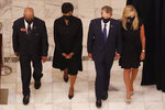 Georgia state Rep. Calvin Smyre, Atlanta Mayor Keisha Lance Bottoms, Gov. Brian Kemp and his wife Marty Kemp, from left, walk ahead of the casket of Rep. John Lewis at the state capital, Wednesday, July 29, 2020, in Atlanta. Lewis, who carried the struggle against racial discrimination from Southern battlegrounds of the 1960s to the halls of Congress, died Friday, July 17, 2020. (AP Photo/John Bazemore, Pool)