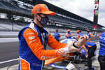Scott Dixon, of New Zealand, prepares to drive during a practice session for the Indianapolis 500 auto race at Indianapolis Motor Speedway, Wednesday, Aug. 12, 2020, in Indianapolis. (AP Photo/Darron Cummings)
