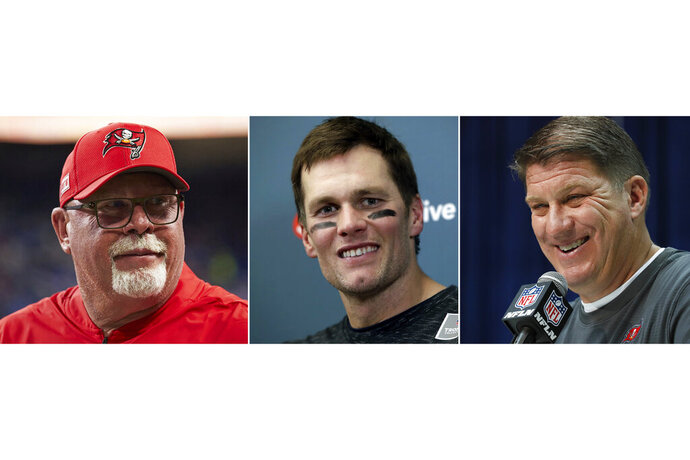 FILE - From left are file photos showing Bruce Arians, Tom Brady and Jason Licht. The Tampa Bay Buccaneers NFL football team will have a conference call to introduce the teams new quarterback Tom Brady, Tuesday, March 24, 2020. Tampa head coach Bruce Arians and general manager Jason Licht are expected to be on the call. (AP Photo/File)