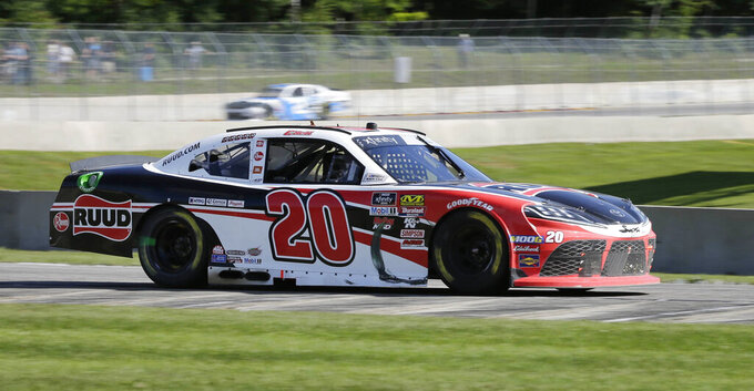 Christopher Bell exits Turn 5 during the NASCAR Xfinity Series auto race Saturday, Aug. 24, 2019, at Road America in Elkhart Lake, Wis. (Gary C. Klein/The Sheboygan Press via AP)