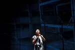 Alexandra Fasola of the Jewish State Theatre performs during the premiere of the