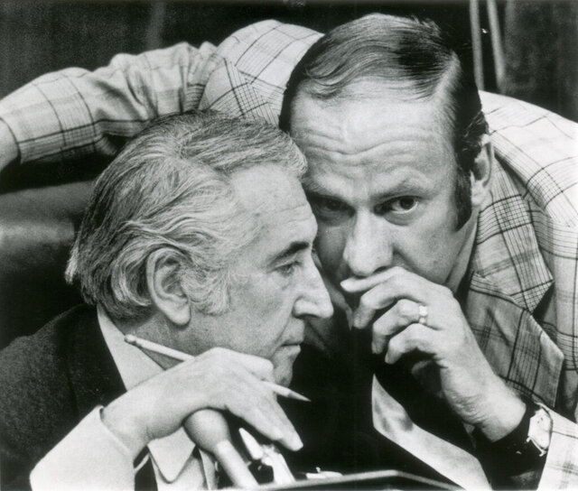 FILE - In this July 27, 1974, file photo, Rep. Thomas Railsback, R-Ill., right, confers with chairman Peter Rodino, D-N.J., during the House Judiciary Committee's debate on impeachment articles in Washington. Railsback, an Illinois Republican congressman who helped draw up articles of impeachment against President Richard Nixon in 1974, has died at age 87. Former Republican congressman and U.S. Transportation Secretary Ray LaHood confirmed the death on Tuesday, Jan. 21, 2020. (AP Photo, File)