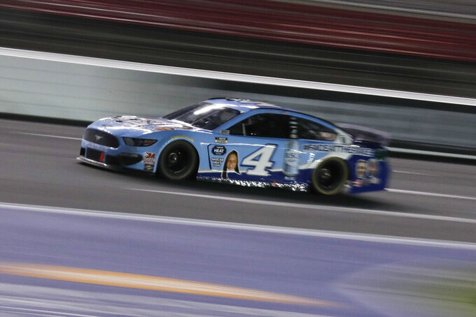 Kevin Harvick drives during a NASCAR Cup Series auto race at Charlotte Motor Speedway Thursday, May 28, 2020, in Concord, N.C. (AP Photo/Gerry Broome)
