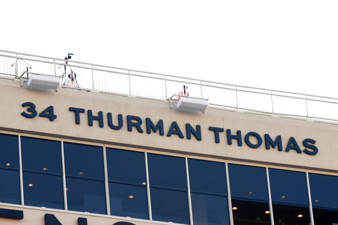 The number and name of Hall of Fame running back Thurman Thomas adorns the west end zone as the first inductee into the Oklahoma State football Ring of Honor during an NCAA college football game Saturday, Sept. 26, 2020, in Stillwater, Okla. (AP Photo/Brody Schmidt)