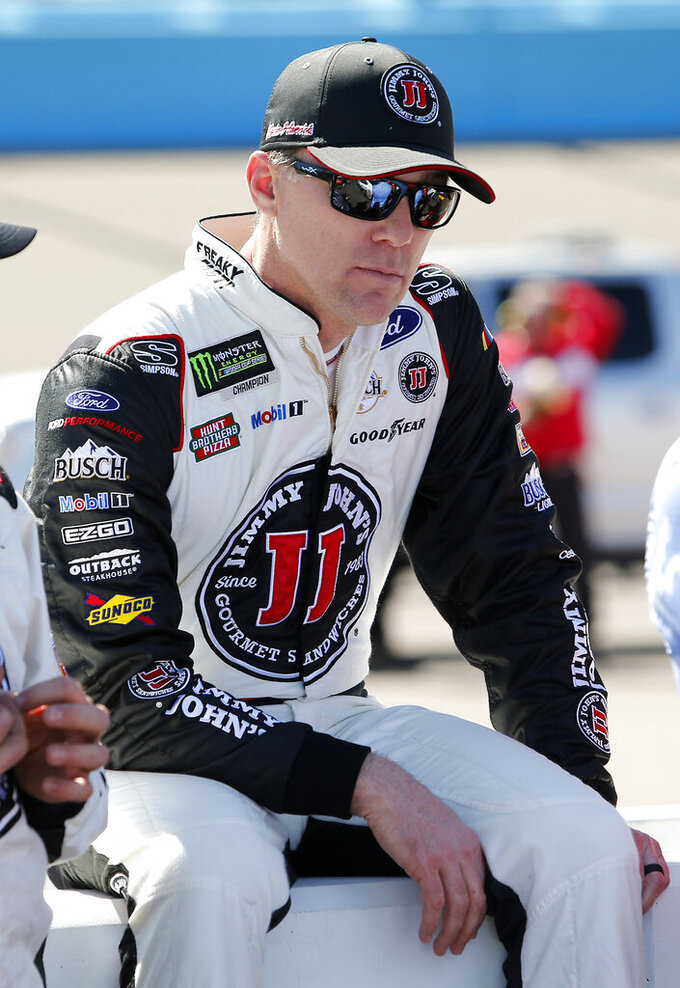 Driver Kevin Harvick prior to the start of the NASCAR Cup Series auto race at ISM Raceway, Sunday, March 10, 2019, in Avondale, Ariz. (AP Photo/Ralph Freso)