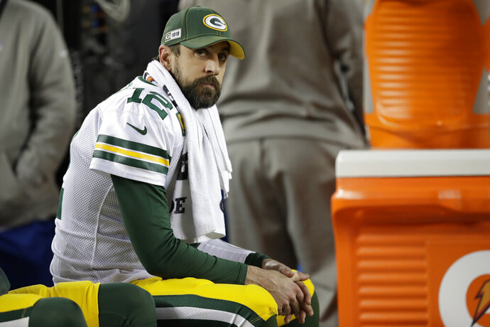 Green Bay Packers quarterback Aaron Rodgers (12) sits on the bench during the second half of the NFL NFC Championship football game against the San Francisco 49ers Sunday, Jan. 19, 2020, in Santa Clara, Calif. (AP Photo/Ben Margot)