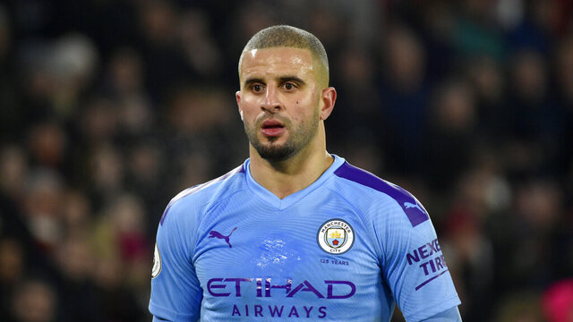 FILE - In this Tuesday, Jan. 21, 2020 file photo, Manchester City's Kyle Walker during the English Premier League soccer match between Sheffield United and Manchester City at Bramall Lane in Sheffield, England. England defender Kyle Walker is facing disciplinary action from Premier League team Manchester City after apologizing on Sunday April 5, 2020, for breaking lockdown conditions during the coronavirus pandemic. (AP Photo/Rui Vieira, File)